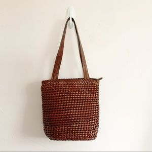 Fossil Dark Brown Woven Leather Tote/Bucket Bag